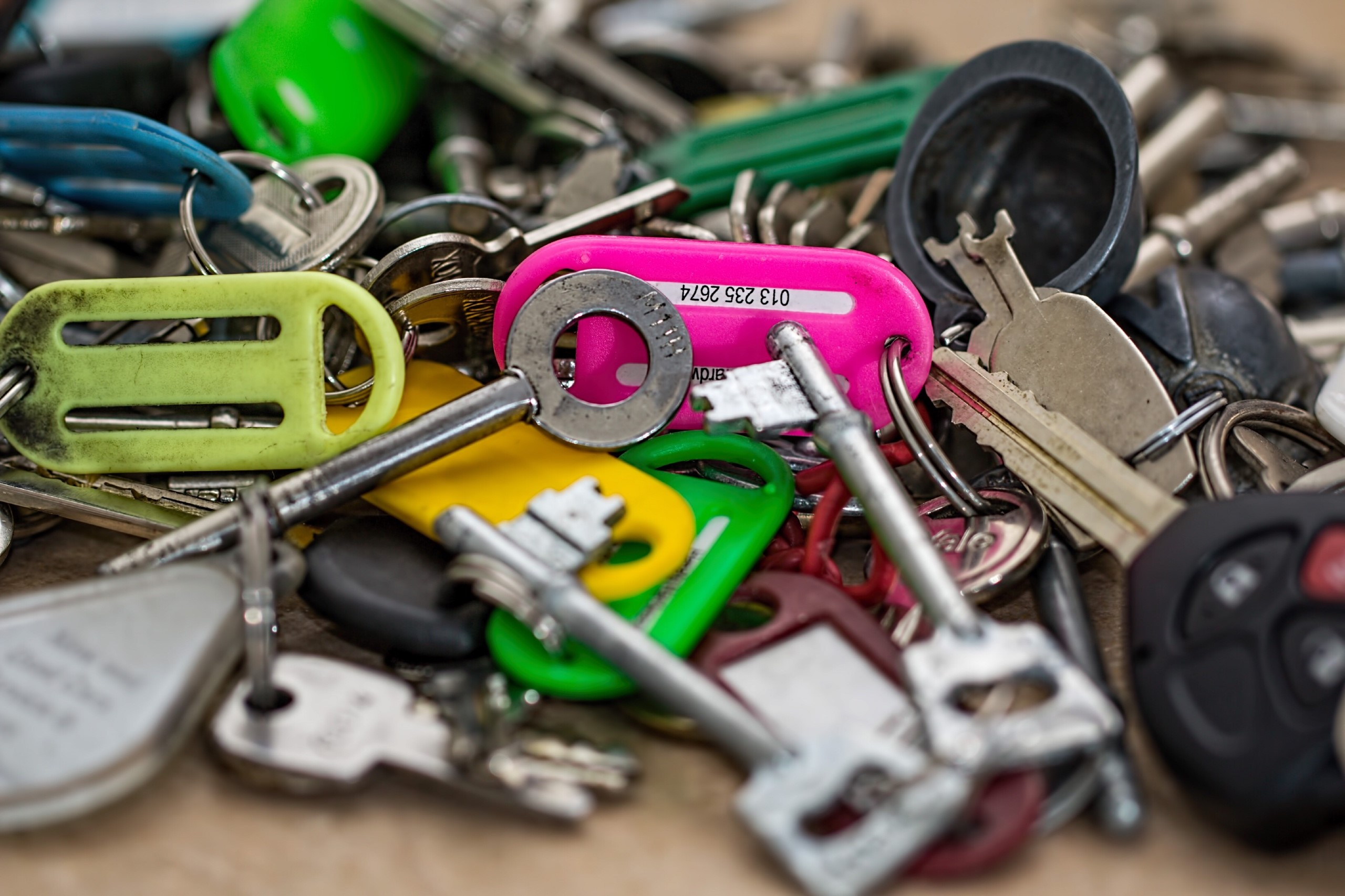Image of lots of keys and labels